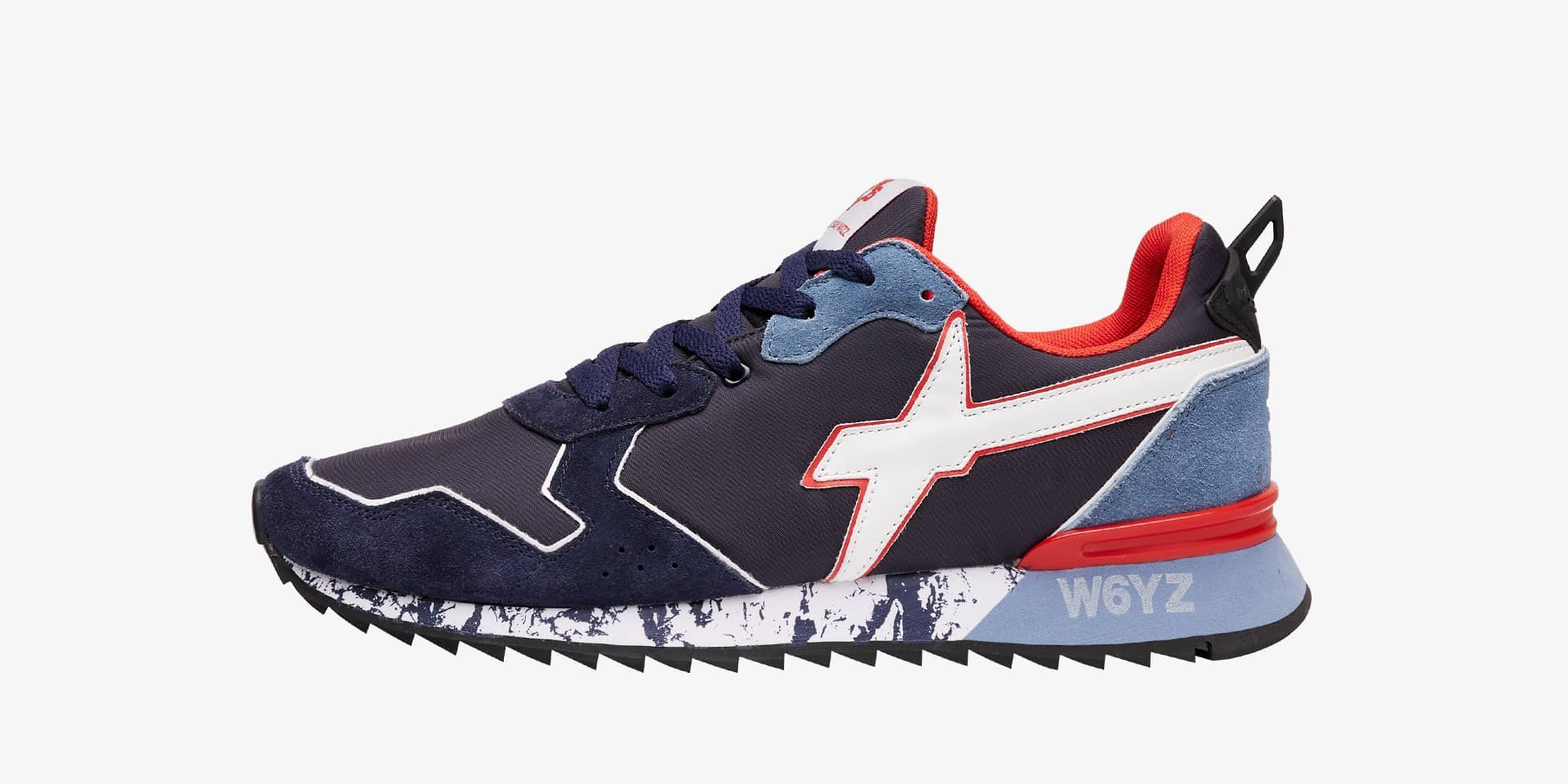 JET-M. - Technical fabric and suede sneakers - Navy/Light blue