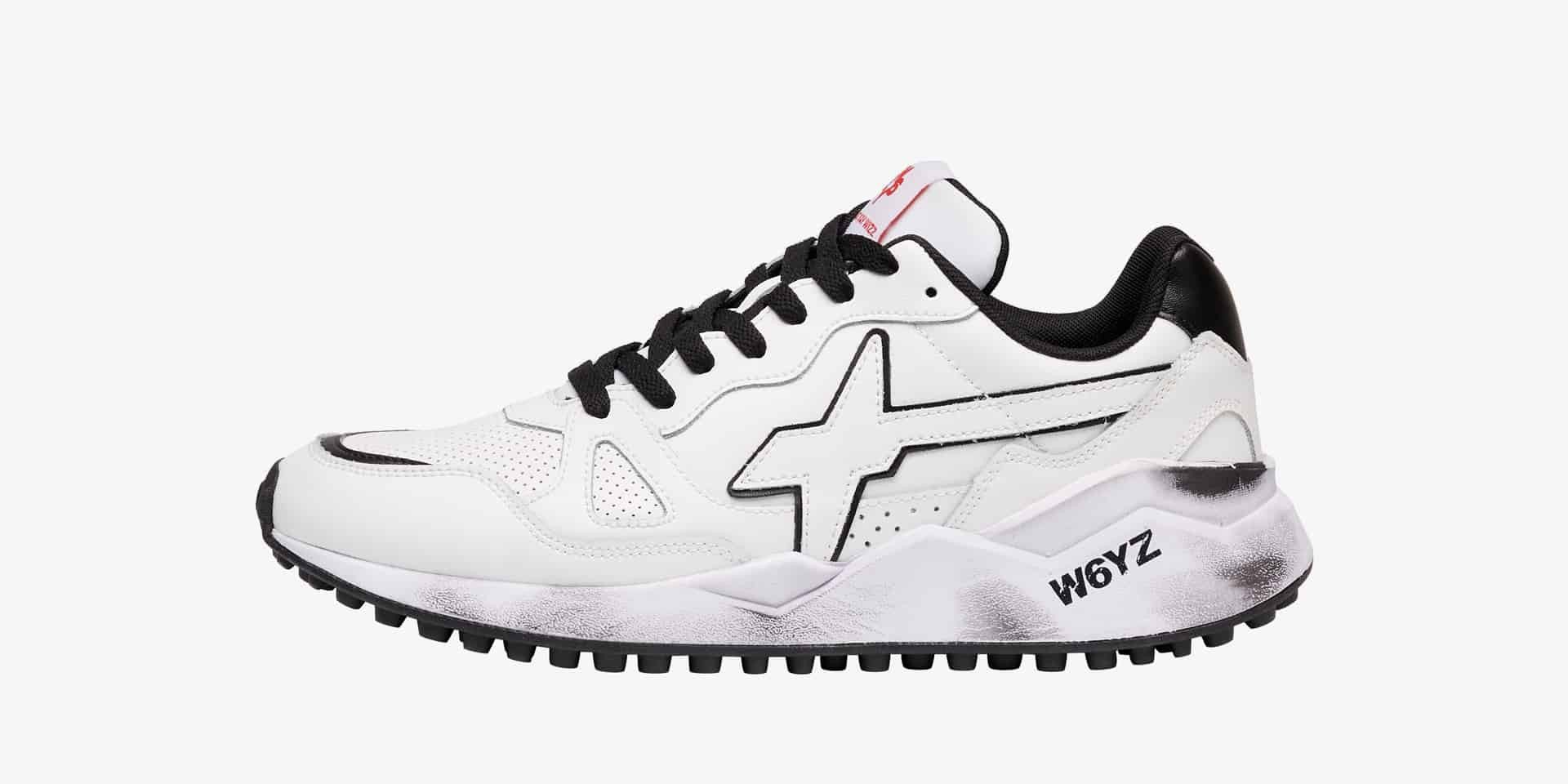 WOLF-M. - Dirty-soled brushed calfskin sneakers - White