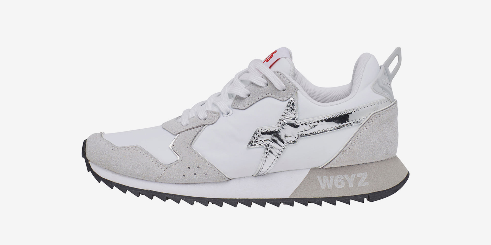 JET-W. - Leather and nylon sneakers - White/Silver