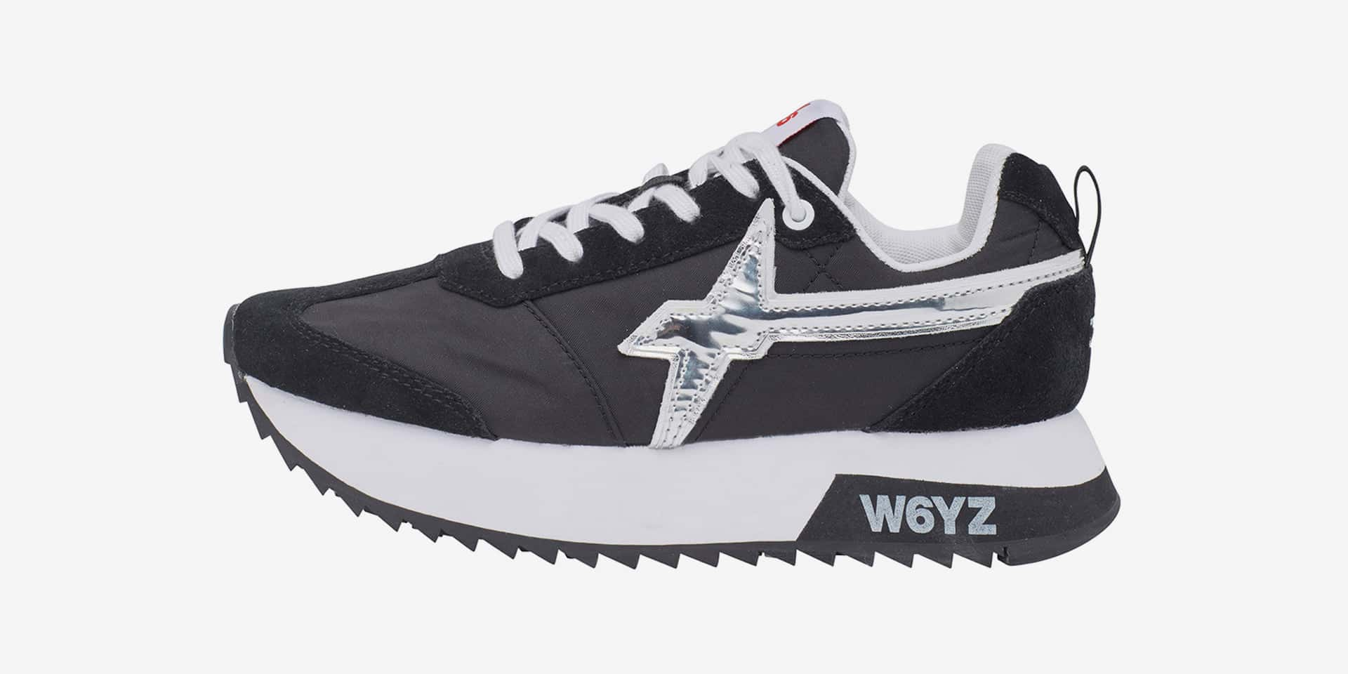 KIS-W. - Leather and nylon sneakers - Black/Silver