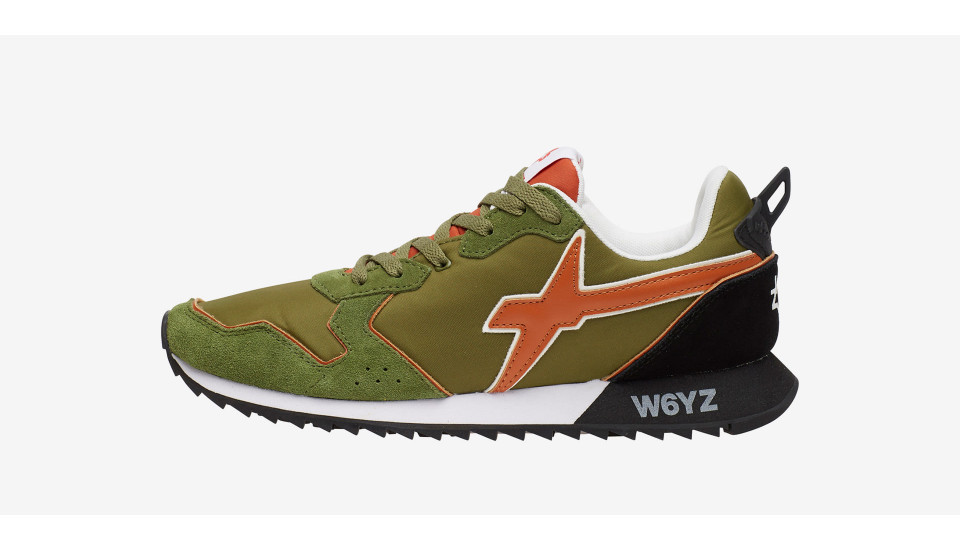 JET-M. - Technical fabric and suede sneakers - Military-orange-black