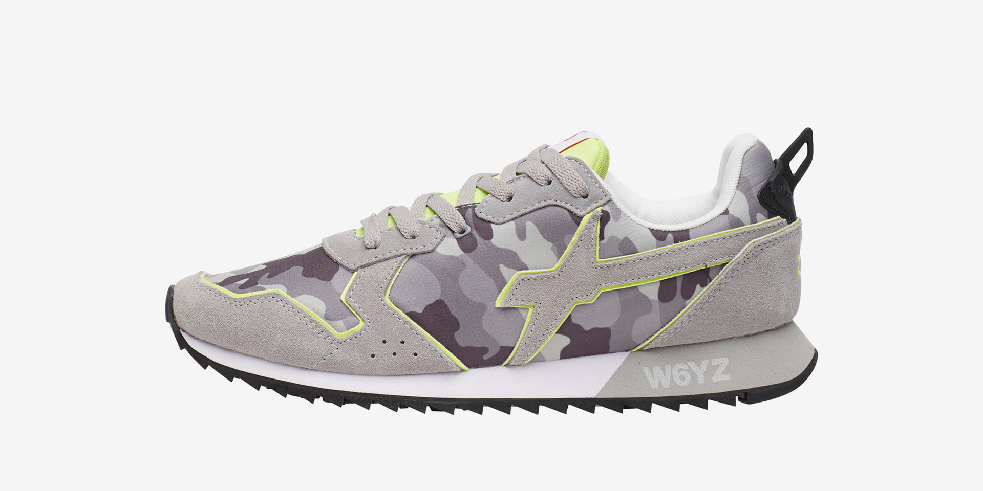 JET-M. - Technical fabric and suede sneakers - Grey-fluorescent yellow