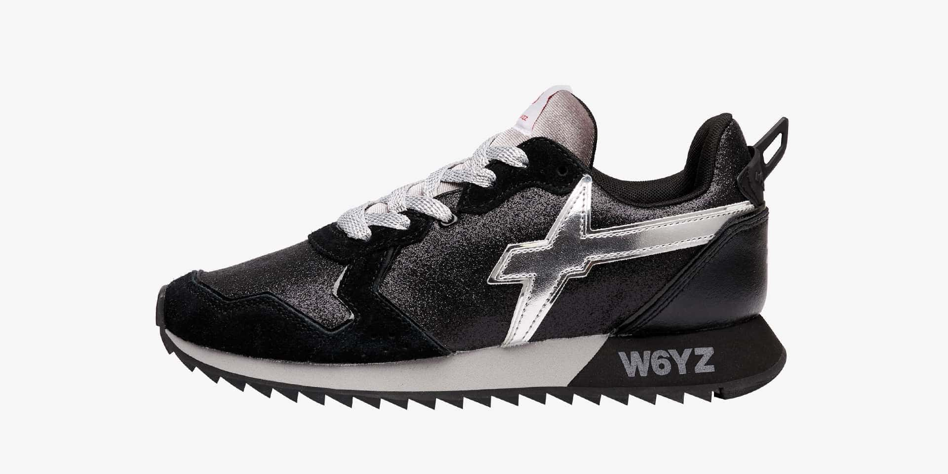 JET-W. - Suede and glitter sneakers - Black