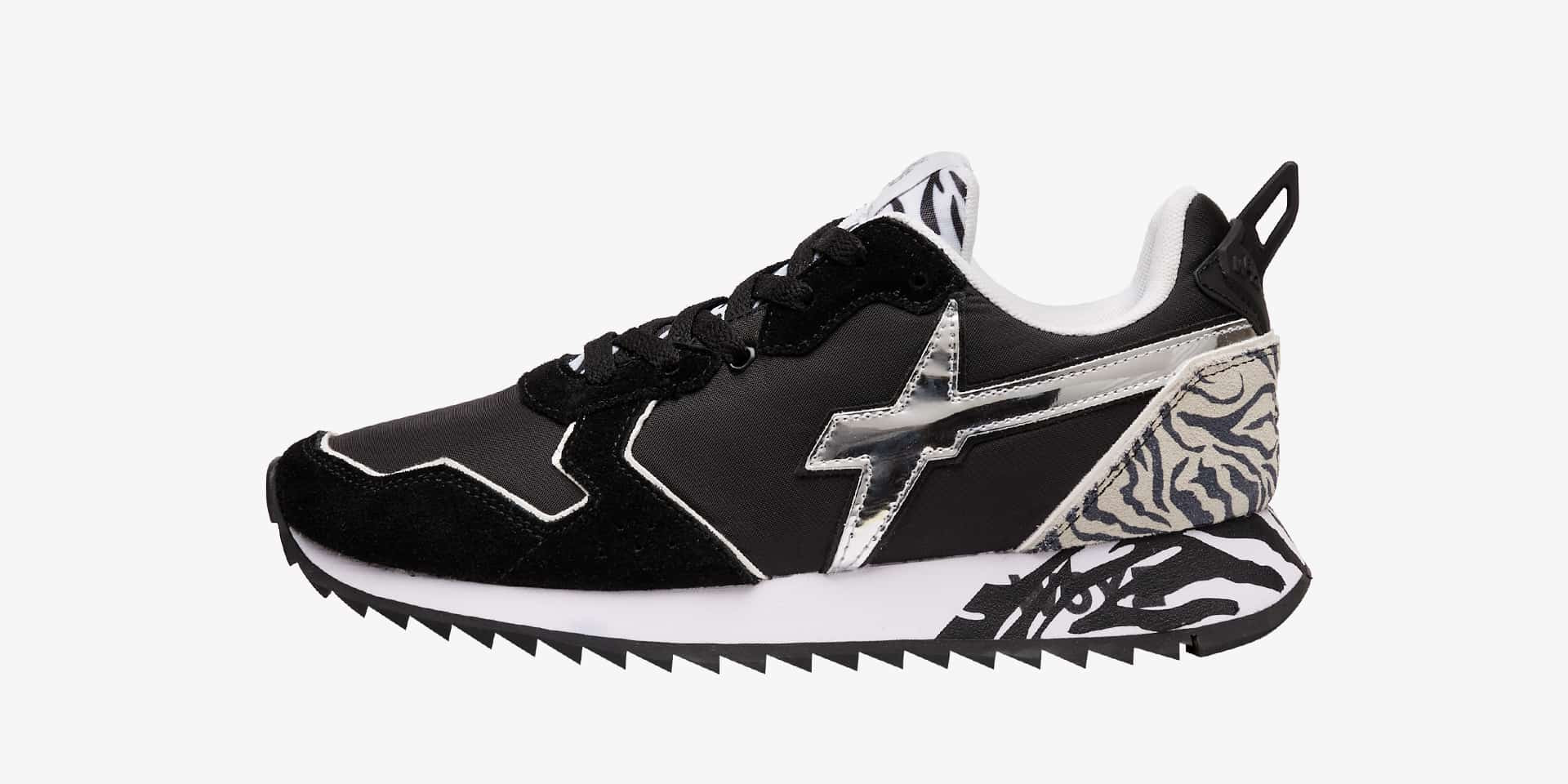 JET-W. - Technical fabric and suede sneakers - Black