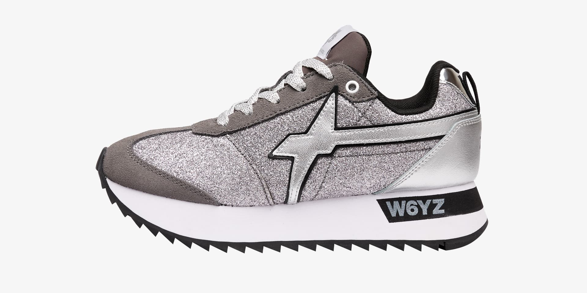 KIS-W. - Suede and glitter sneakers - Silver