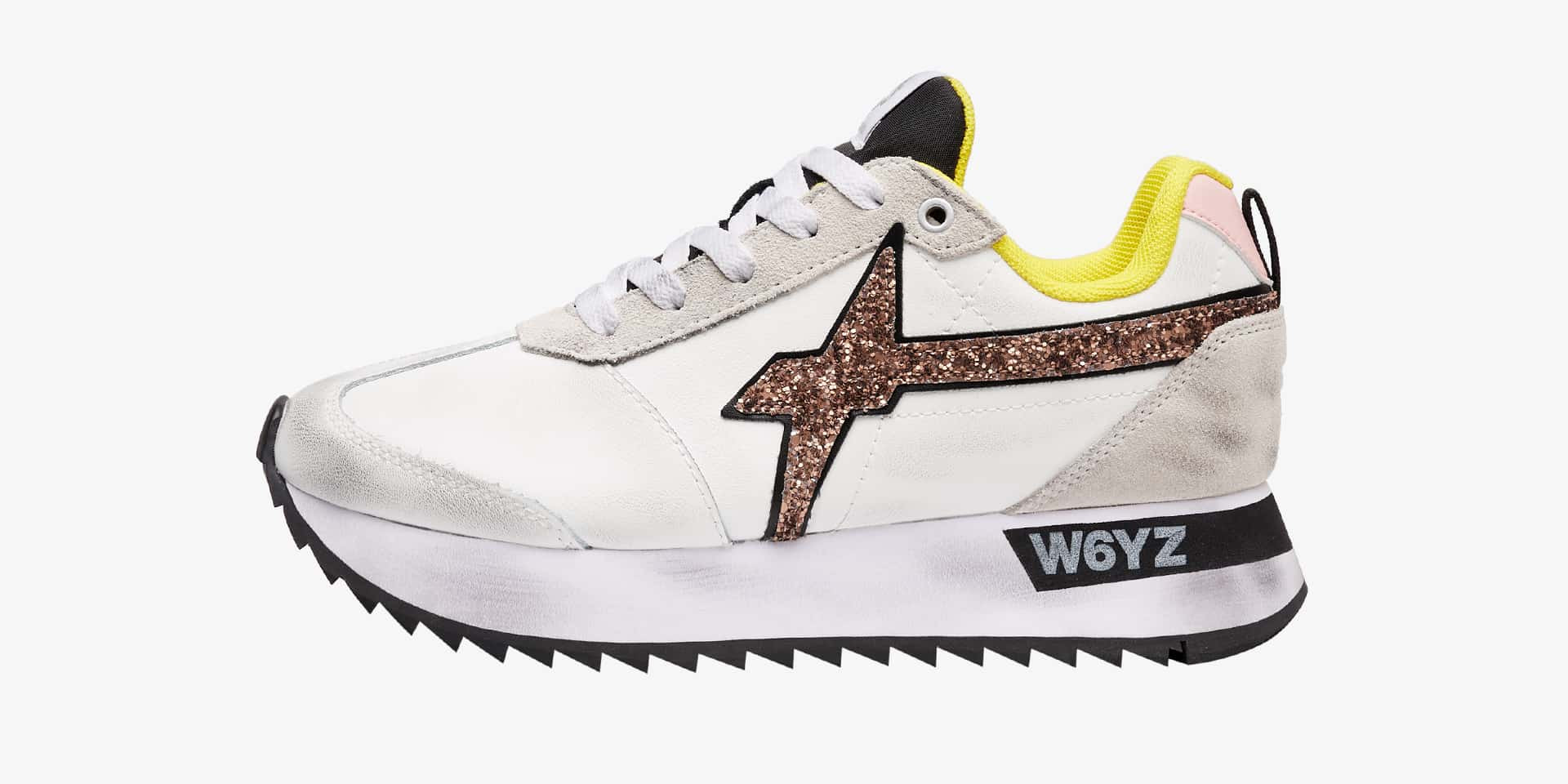 KIS-W. - Leather, suede and glitter sneakers - White