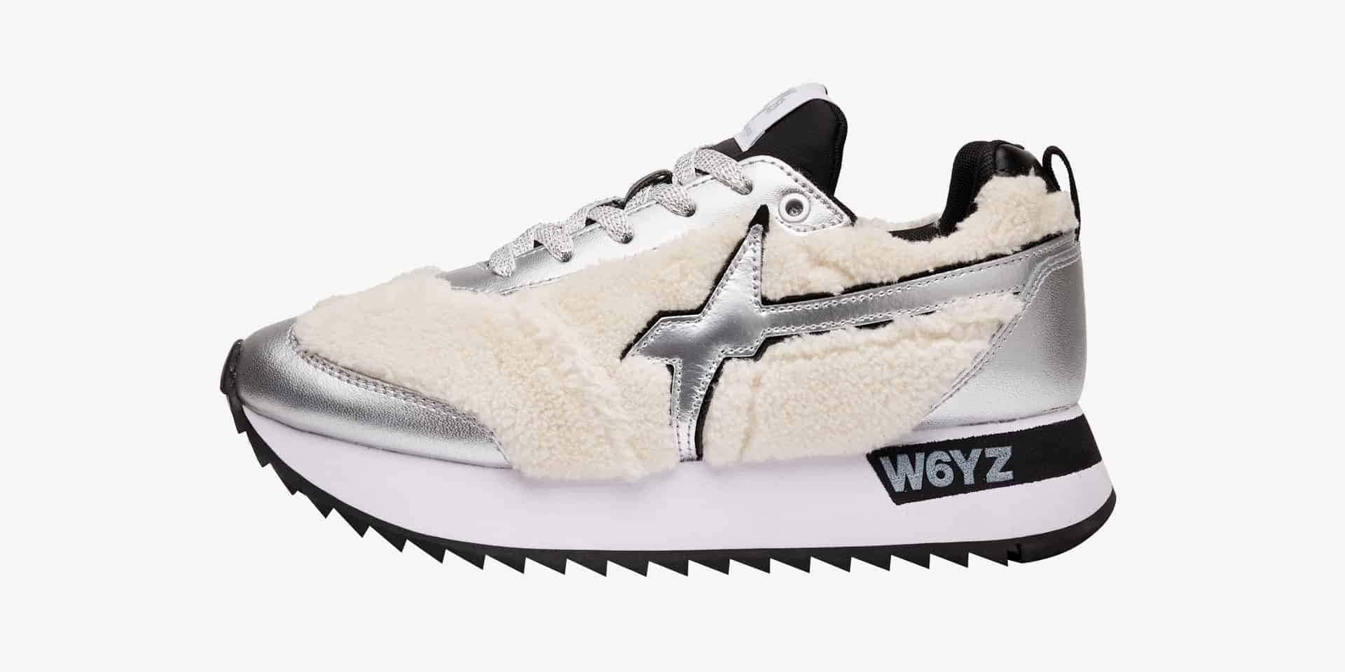 KIS-W. - Leather and faux fur sneakers - Silver/White