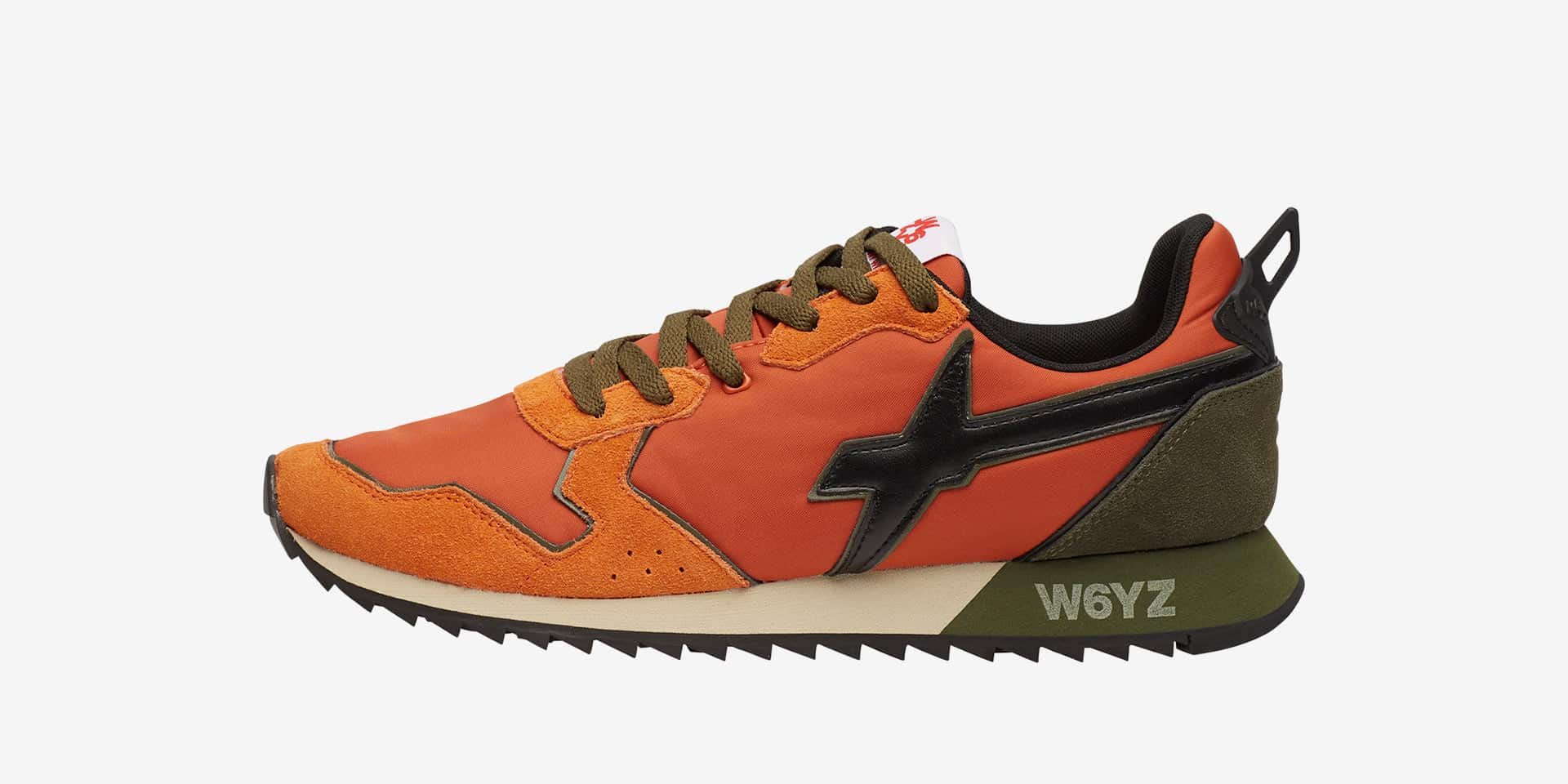 JET-M. - Leather and fabric sneakers - Orange/Black