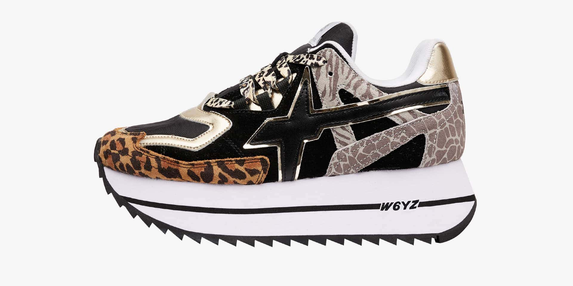 DEB-W. - Technical fabric and animal-print sneakers - Animal print