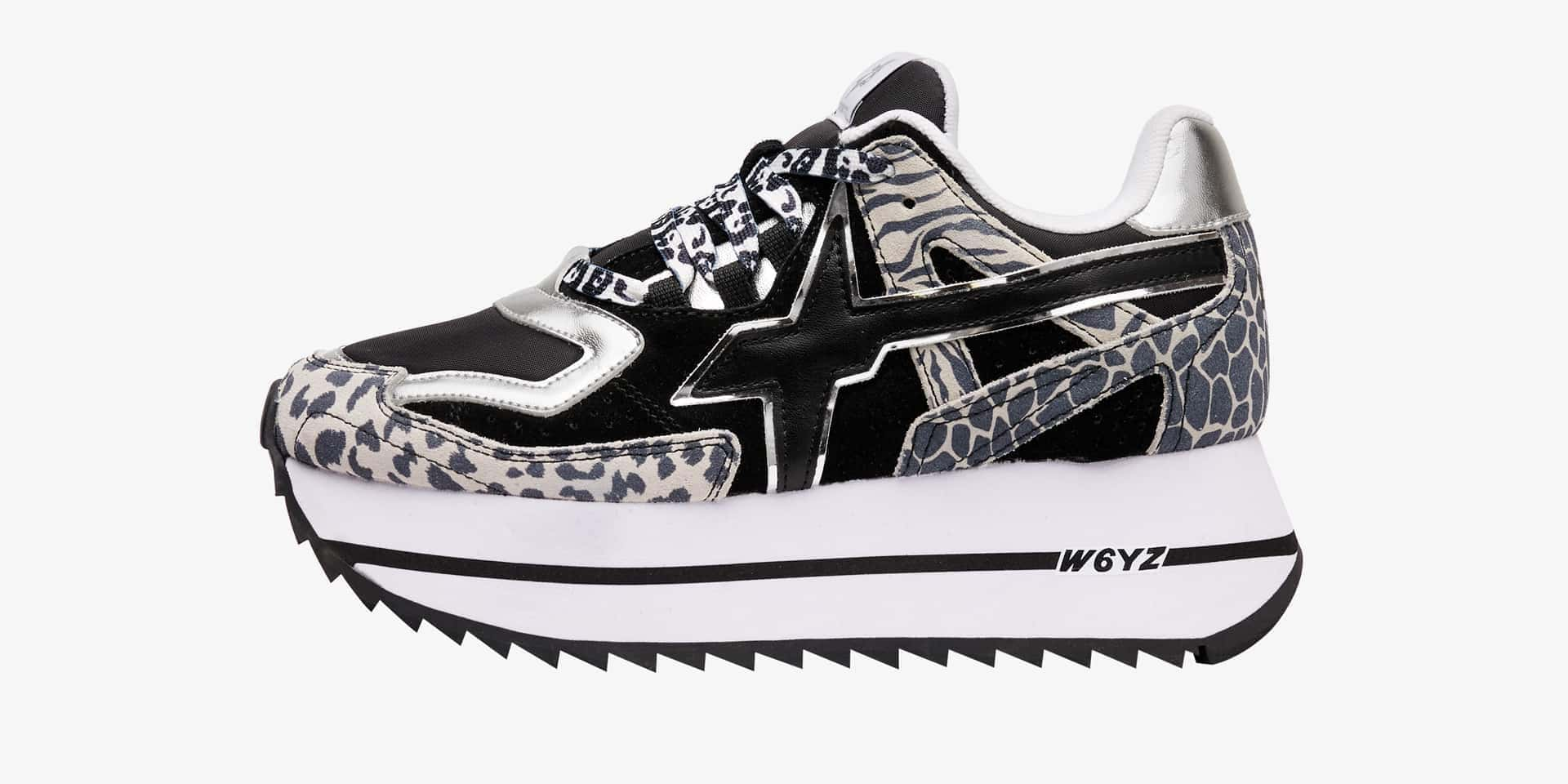 DEB-W. - Technical fabric and animal-print sneakers - Black/White
