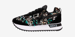 KIS-W. - Suede and sequin sneakers - Black/Multicoloured