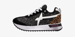 KIS-W. - Animal-print detail-embellished suede and glitter sneakers - Black