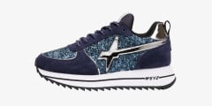 HER-W. - Suede and glitter sneakers - Blue