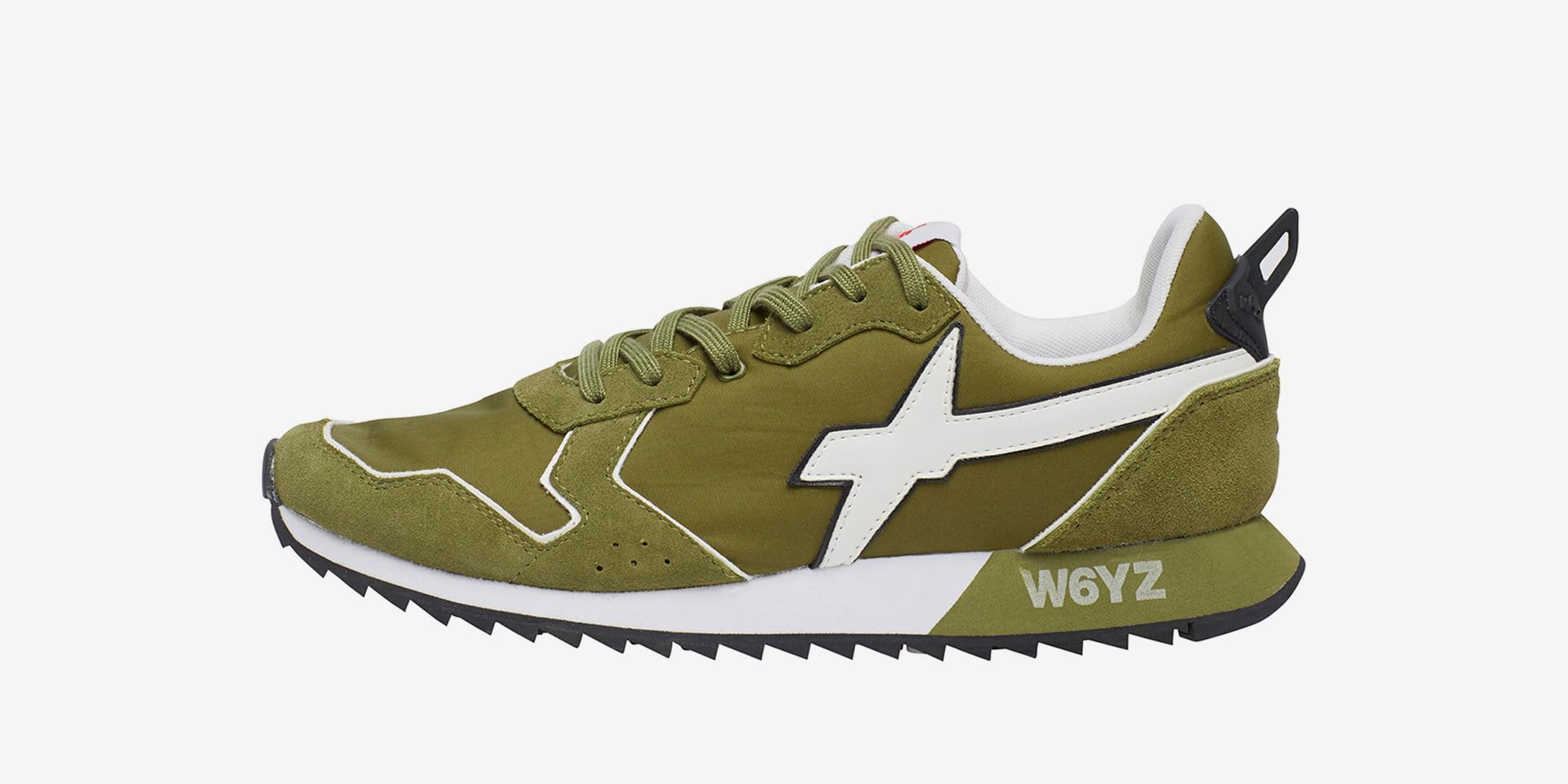 JET-M. - Sneakers in pelle e nylon - Militare/Bianco