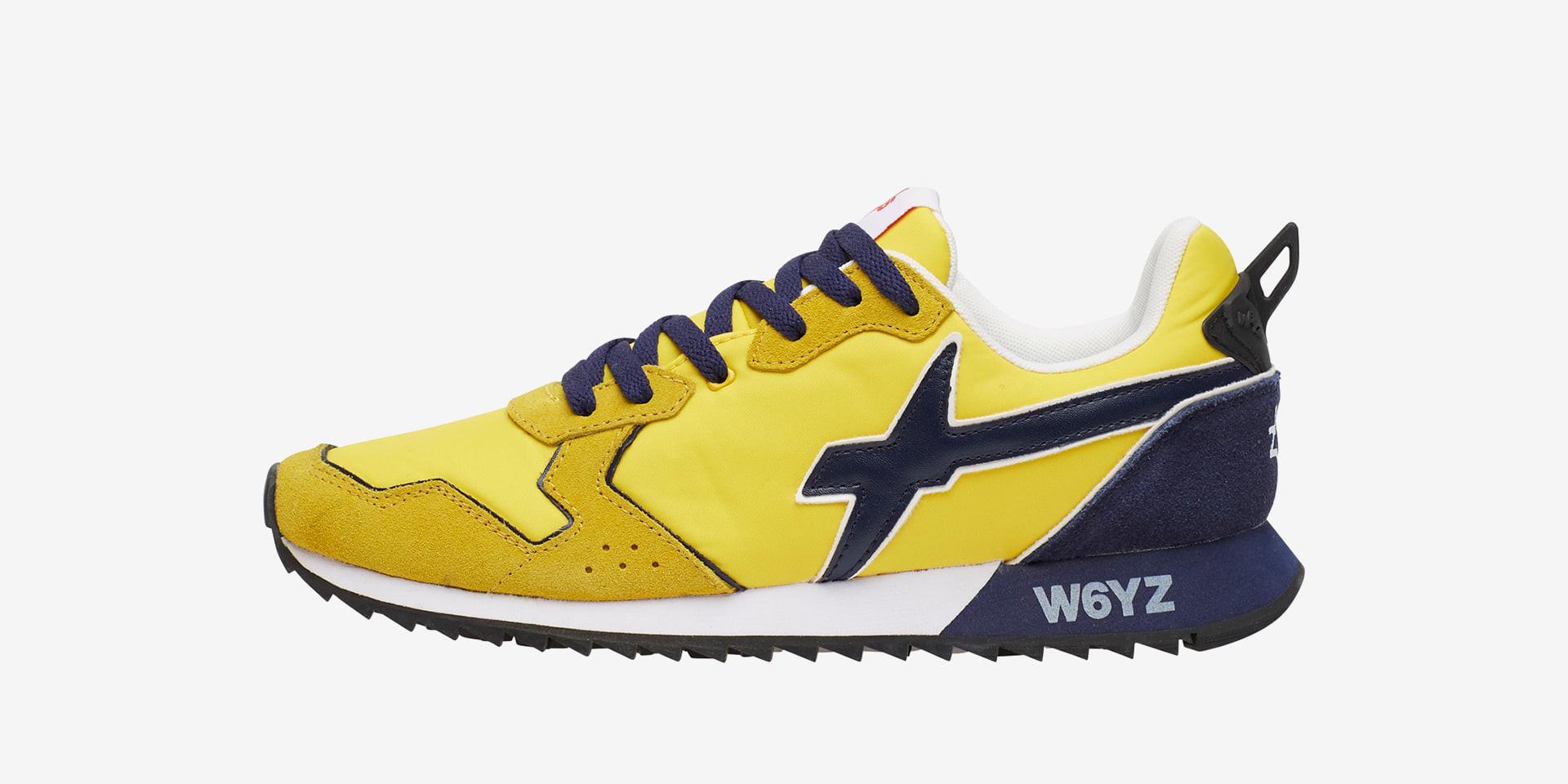 JET-M. - Sneaker in suede e nylon - Giallo-Navy