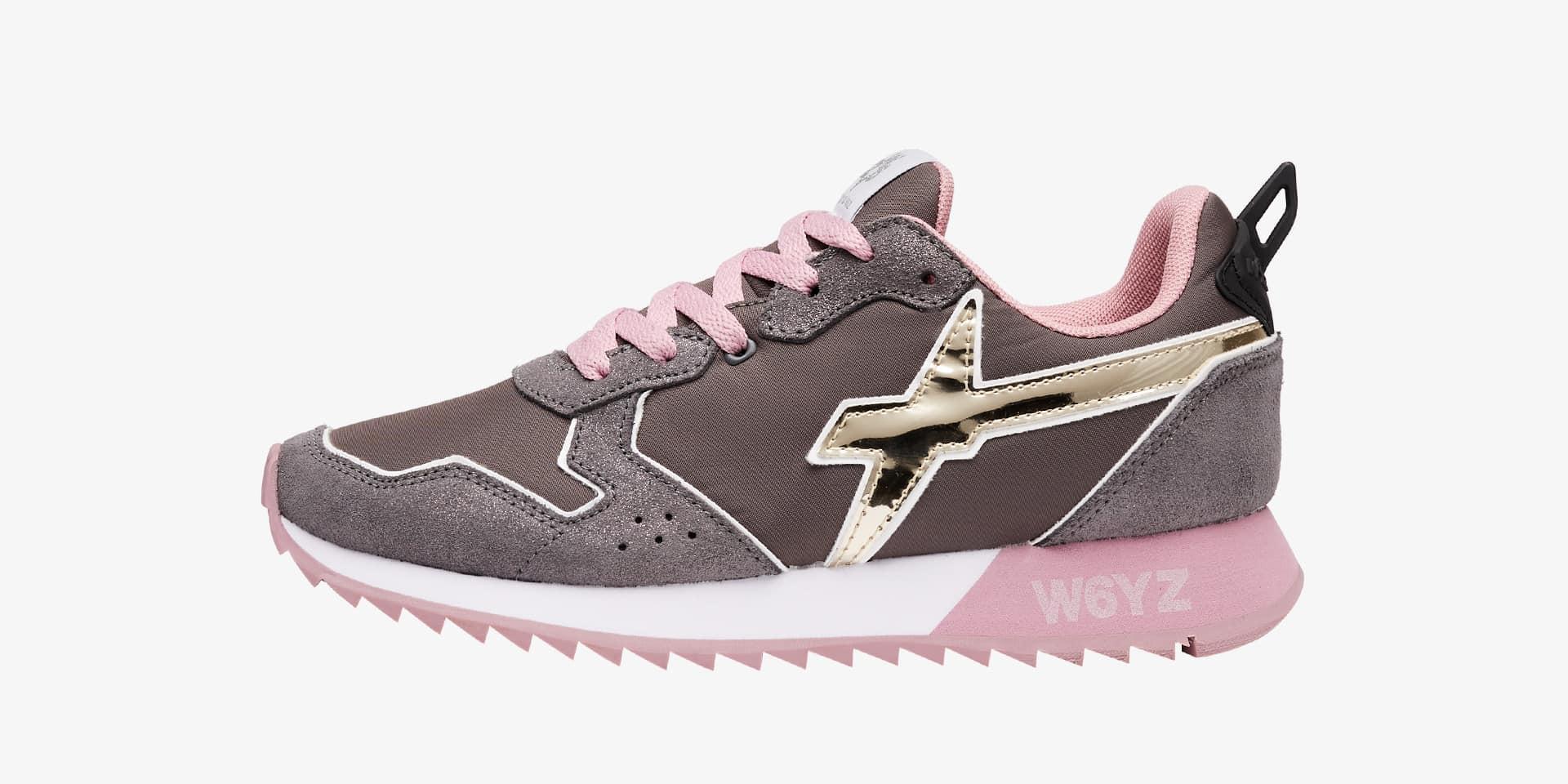 Sneaker in tessuto tecnico e suede con glitter Grigio-JET-W.