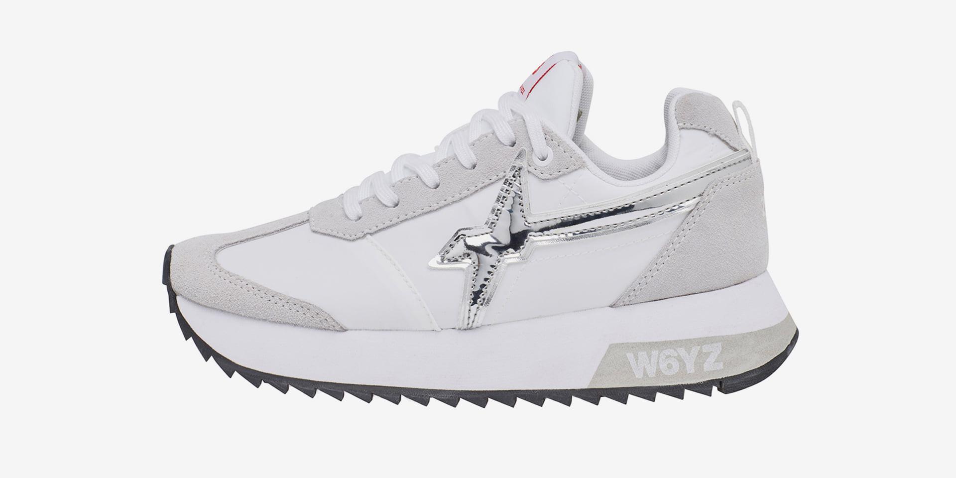 KIS-W. - Sneaker in pelle e tessuto tecnico - Bianco-Argento