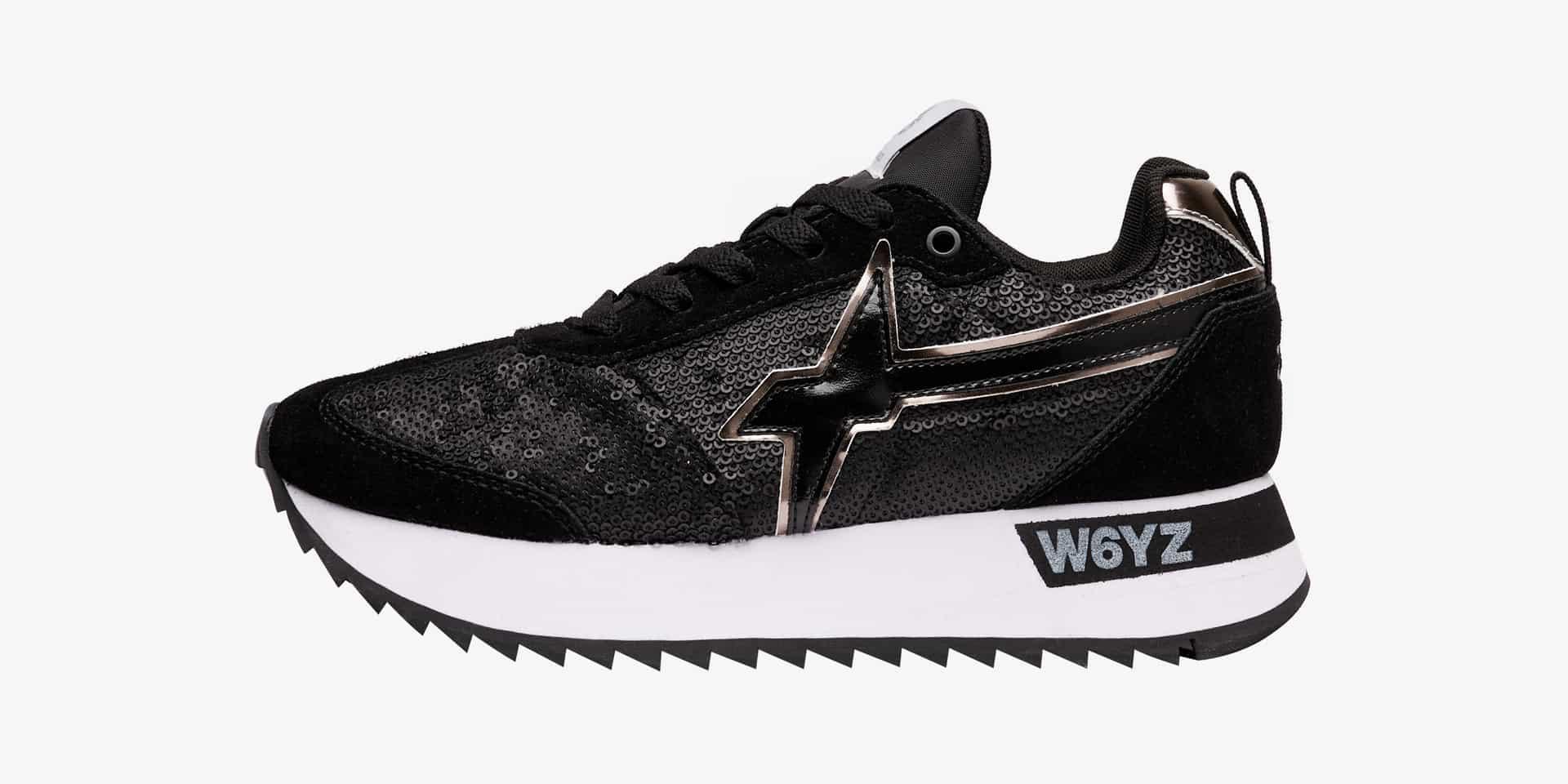Sneaker in suede e paillettes Nero-KIS-W.