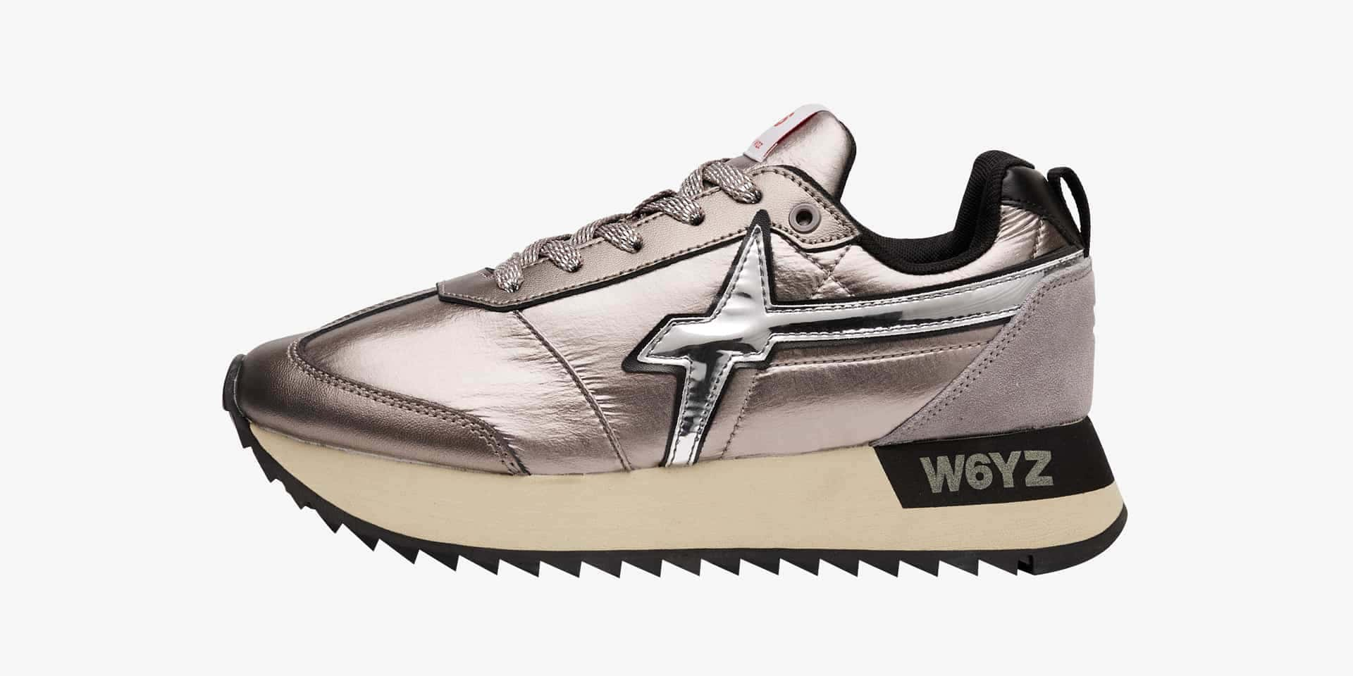 Sneaker in pelle laminata Argento-KIS-W.