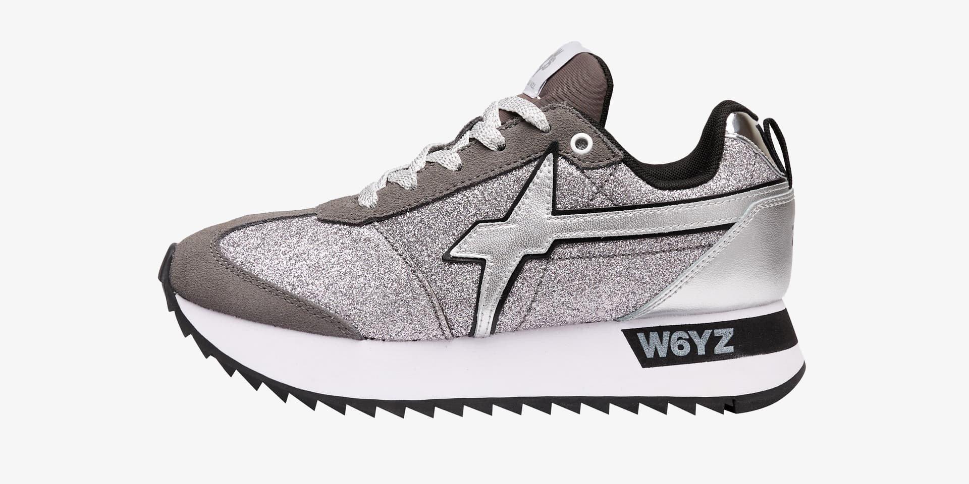 Sneaker in suede e glitter Argento-KIS-W.