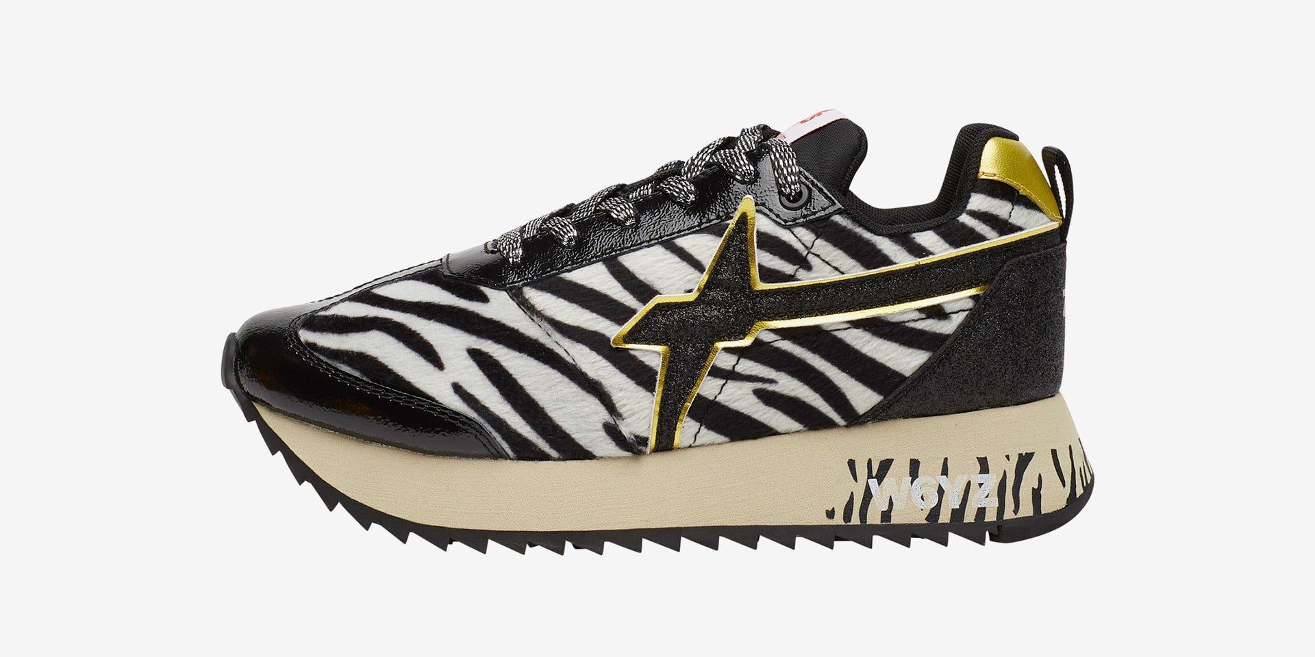 KIS-W. - Sneakers in pelle e tessuto - Nero/Zebra