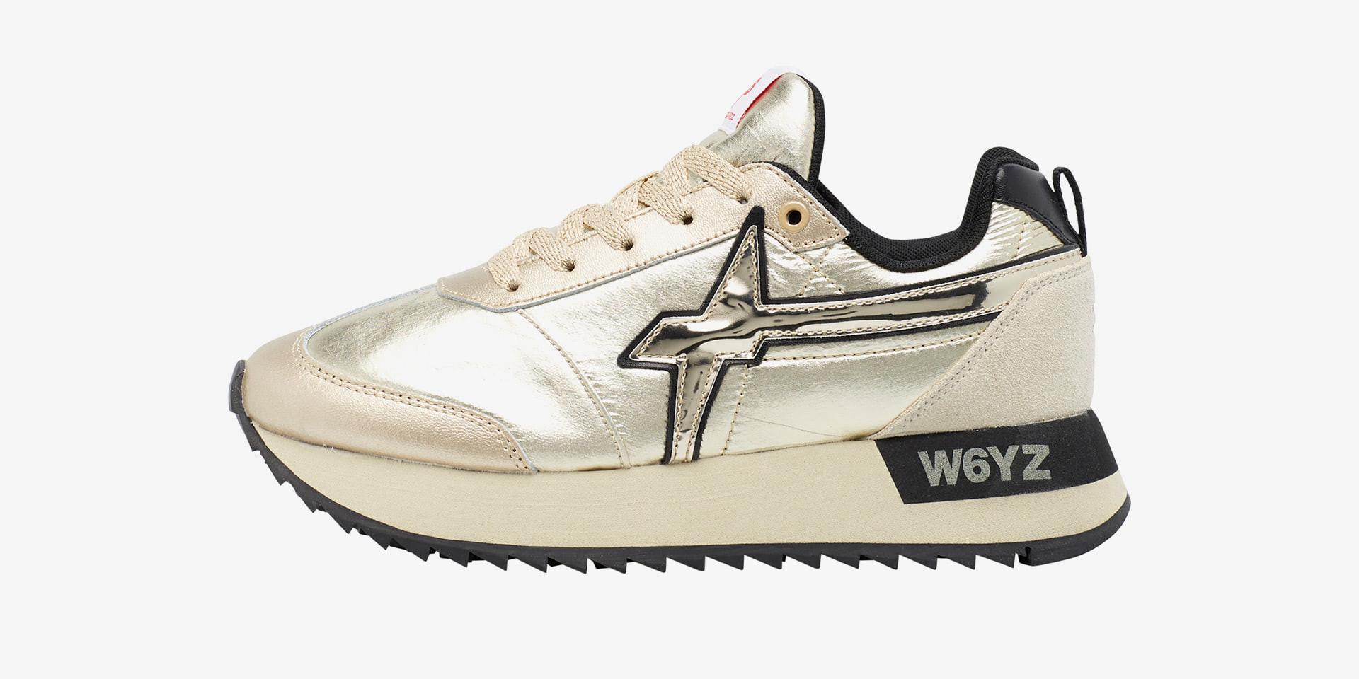 KIS-W. - Sneaker con inserto laminato - Platino