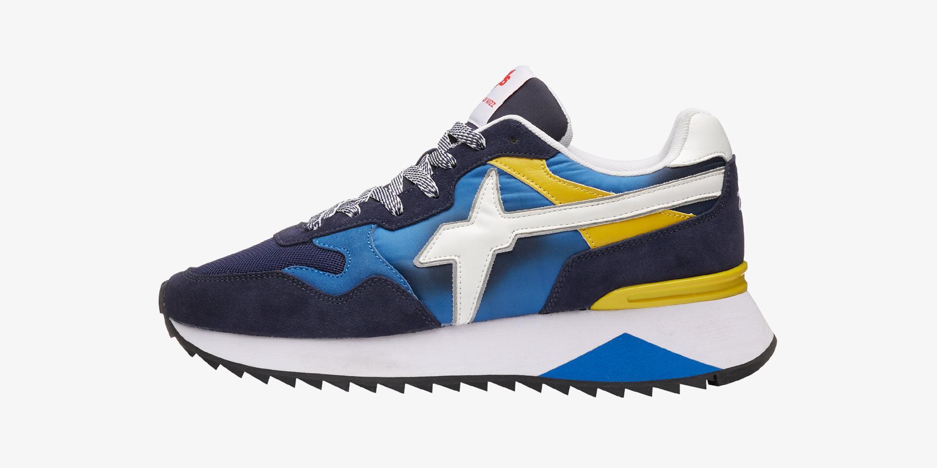 YAK-M. - Sneaker in tessuto e pelle - Blu-Bianco