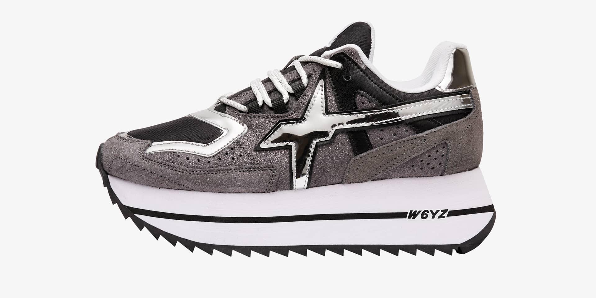 Sneaker in tessuto tecnico, suede e glitter Grigio-DEB-W.