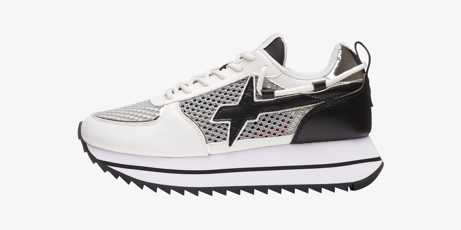 KIS2-W. - Sneaker in rete e pelle - Bianco-Nero
