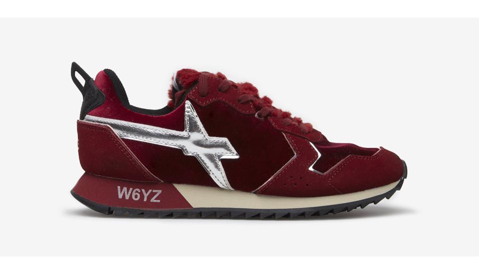 JET-W. - Sneakers in pelle e velluto - Rosso