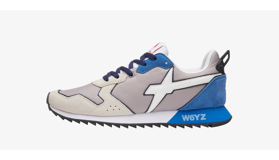 JET-M - Sneaker in pelle e nylon - Grigio-Azzurro