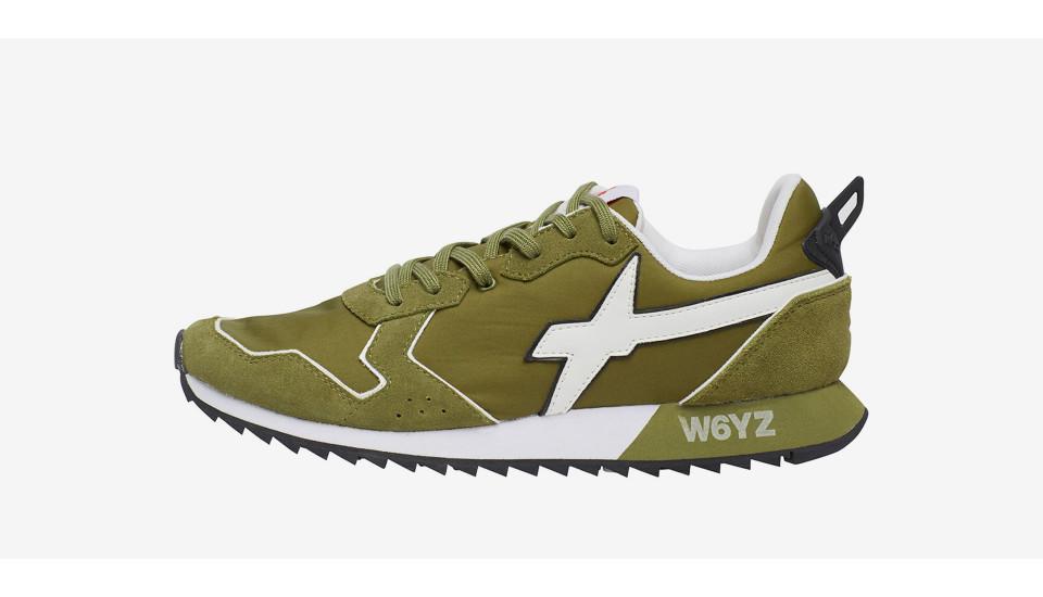 JET-M. - Sneaker in suede e nylon - Militare-Bianco
