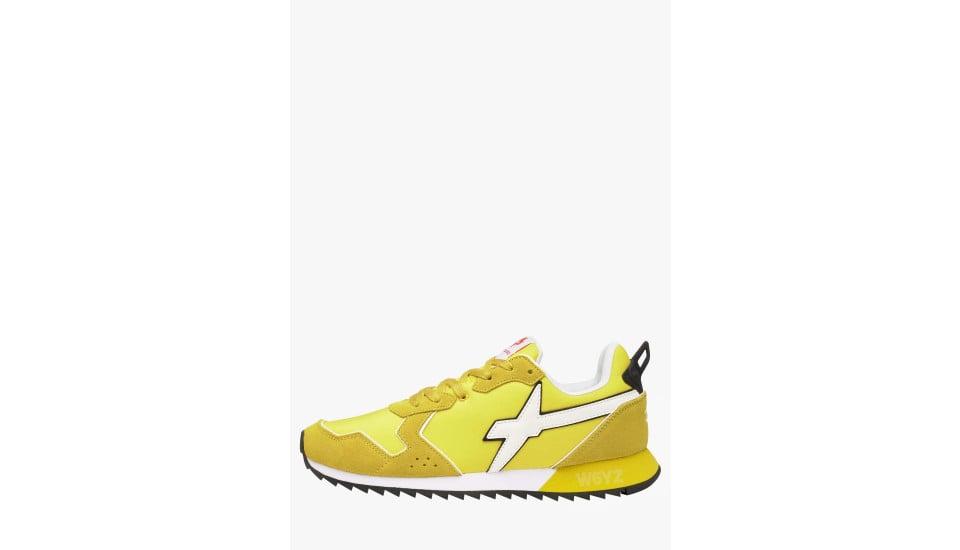 JET-M. - Sneaker in suede e nylon - Giallo-Bianco