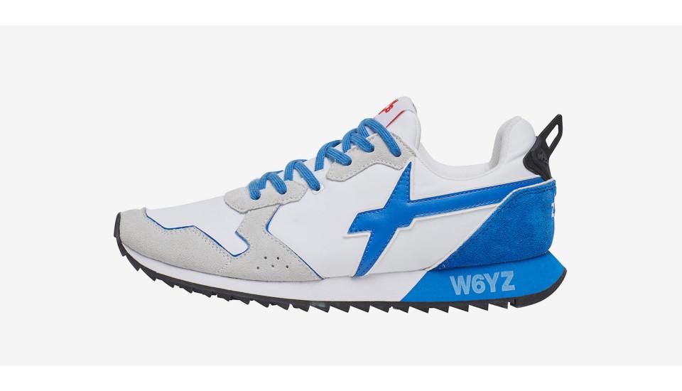 JET-M. - Sneakers in pelle e nylon - Bianco/Azzurro