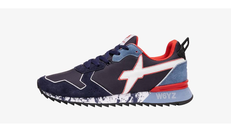 Sneaker in tessuto tecnico e suede Blu-JET-M.