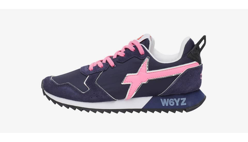 JET-W. - Sneakers in pelle e nylon - Blu/Fuxia