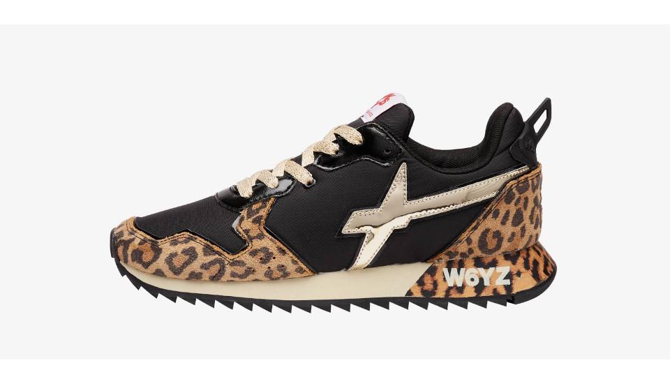 Sneaker in tessuto tecnico e suede animalier Nero-JET-W.