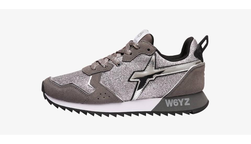Sneaker in suede e glitter Argento-JET-W.