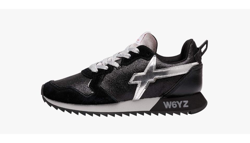 Sneaker in suede e glitter Nero-JET-W.