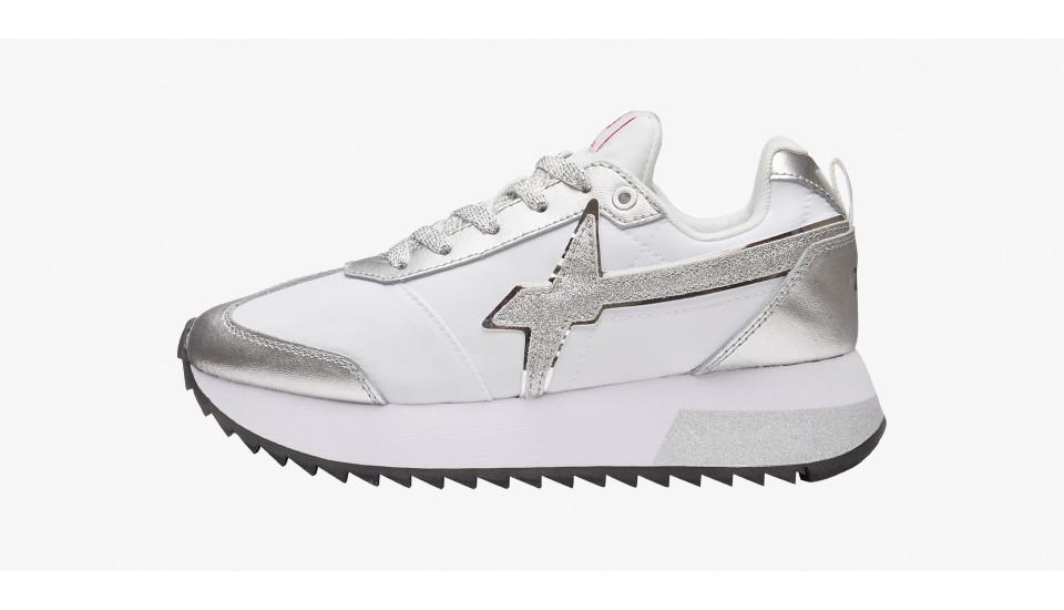Sneaker con dettaglio glitter Bianco-KIS-W.