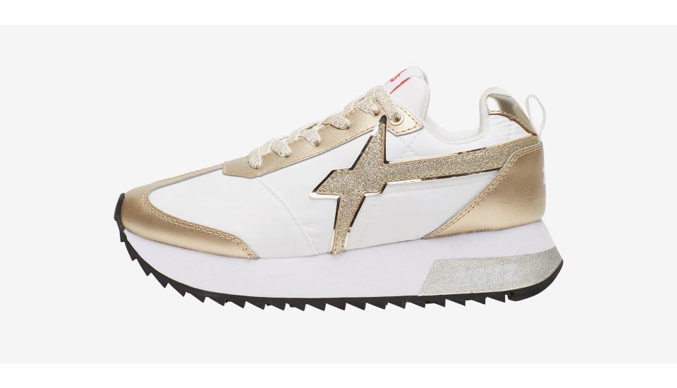 KIS-W. - Sneaker con dettaglio glitter - PLATINO-BIANCO