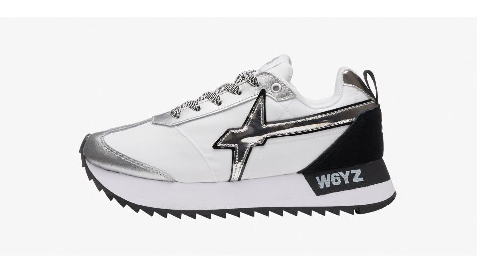 KIS-W. - Sneaker con dettaglio a specchio - Bianco-Argento-Nero