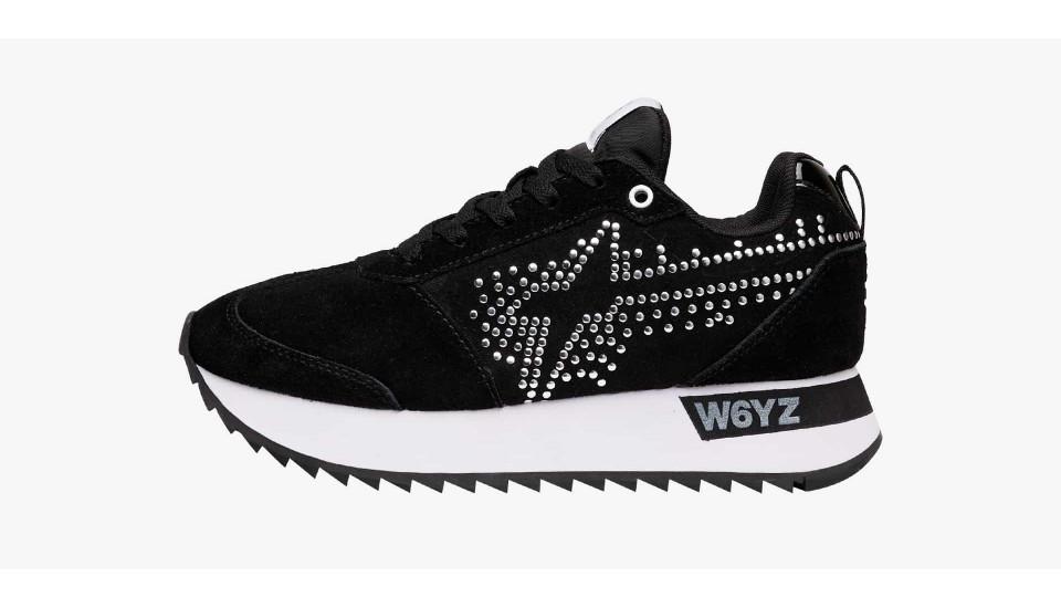 Sneaker in suede con borchie Nero-KIS-W.