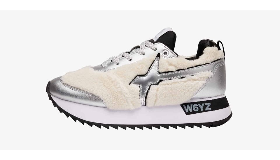Sneaker in pelle e ecofur Argento-KIS-W.