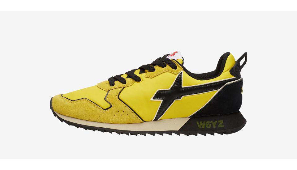 JET-M. - Sneakers in pelle e tessuto - Giallo/Nero