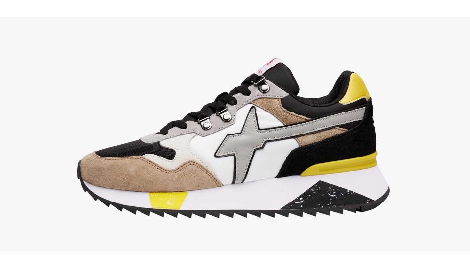 Sneaker in pelle vegana e tessuto tecnico Nero avorio-YAK-M.