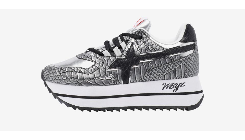 Sneaker in tessuto tecnico con stampa Grigio-DEBBY-W.