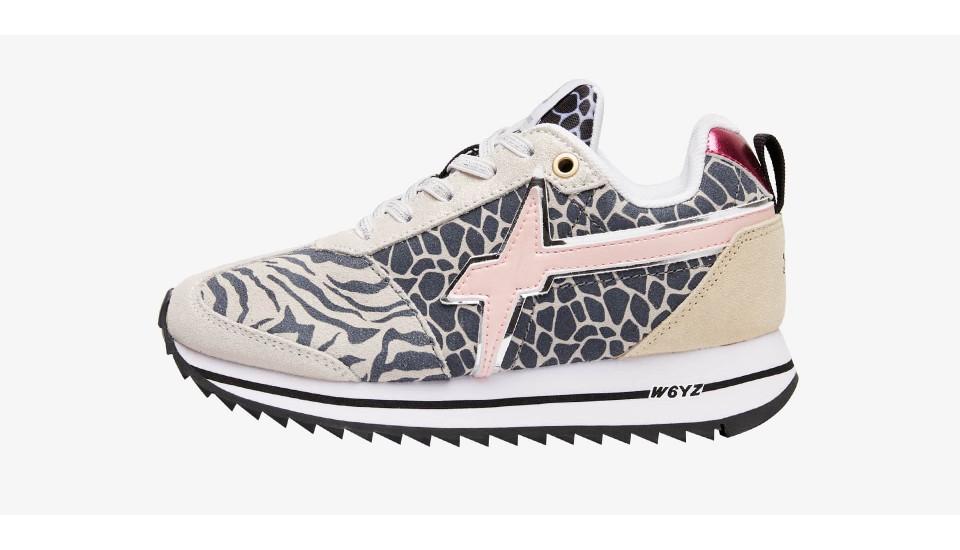 Sneaker in suede glitter animalier Multicolore-KIS J.