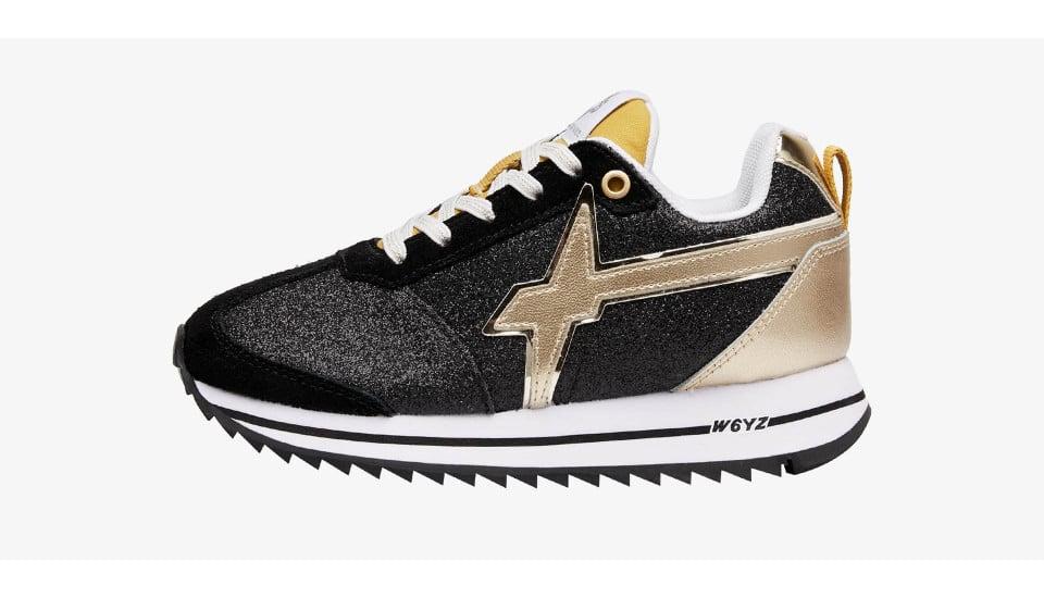 Sneaker in tessuto glitter e suede Nero-KIS J.