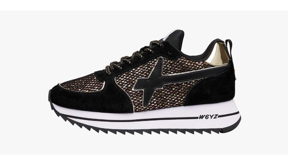 Sneaker in suede e rete glitterata Nero-HER-W.